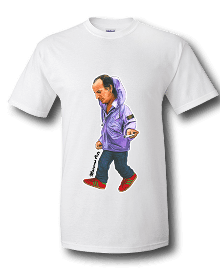 It's an Osti Thing T-Shirt featuring hand drawn cartoon images of casuals wearing his three designer labels, C.P Company, M.A Strum and Stone Island.