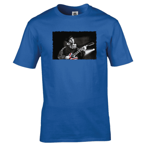 Noel Gallagher Oil Painting T-Shirt featuring original artwork by Mark Reynolds. Available in a wide range of colours and sizes.
