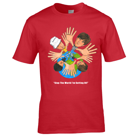 This Stone Roses T-Shirt, originally a cartoon drawing by Mark Reynolds, is available in a range of different colours and sizes