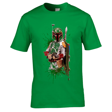 This Star Wars Boba Fett T-Shirt has been drawn in coloured pencil by Mark Reynolds. Using the best T-Shirt printing process (Direct to Garment) we are able to reproduce this drawing onto T-Shirts.