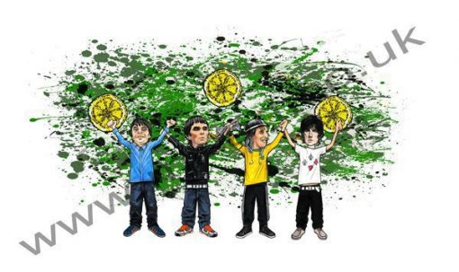 This Exclusive The Stone Roses All For One design features hand drawn cartoon images of Ian Brown, Mani, Reni and John Squire joining hands at the end of a concert.