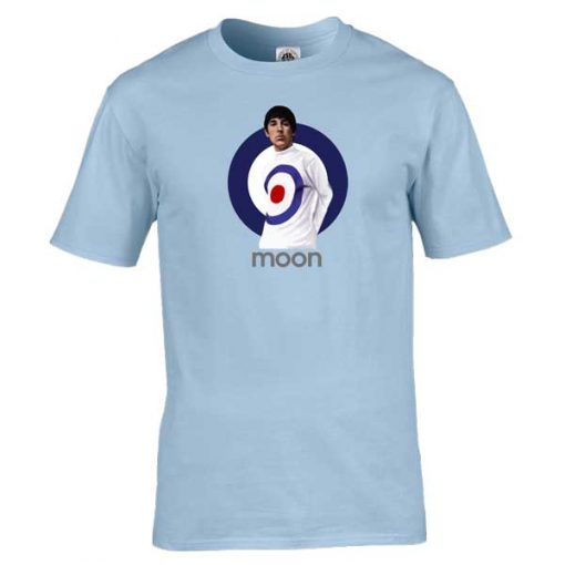 Bespoke Keith Moon T-Shirt, from original artwork by Mark Reynolds. Available in a range of colours and sizes.