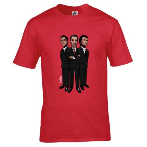 This Goodfellas cartoon T-Shirt has been drawn by Mark Reynolds. It features Henry Hill(Ray Liotta),James Conway(Robert De Niro) andTommy DeVito(Joe Pesci). It is available in a wide range of colours and sizes.