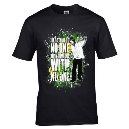 """The Stone Roses Here It Comes T-Shirt has been drawn by Mark Reynolds and features the lyrics """"I'd rather be no one than someone with no one"""""""